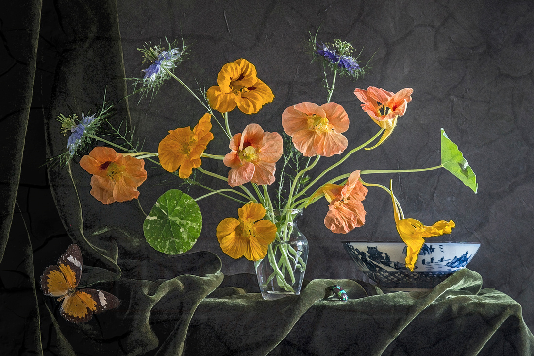 Nasturtiums with a Chinese Porcelain Bowl
